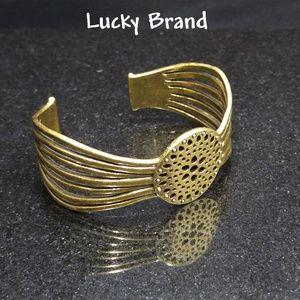 Lucky Brand Open Work Medallion Gold Cuff Bracelet